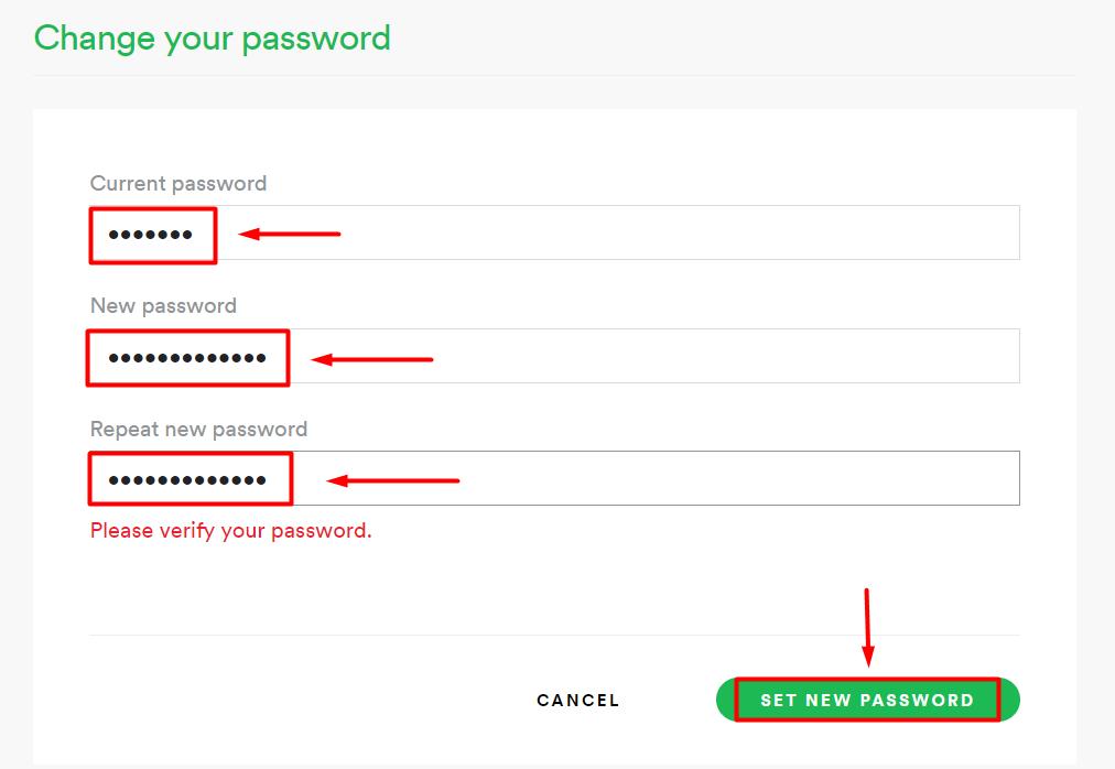 spotify password change