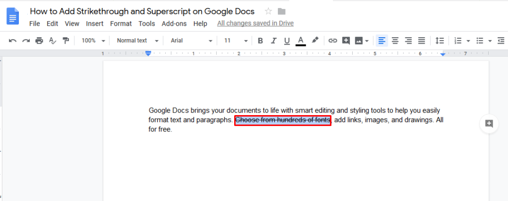 subscript google docs